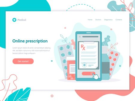 Online prescription. Medical concept. Web page design template. Flat vector illustration.