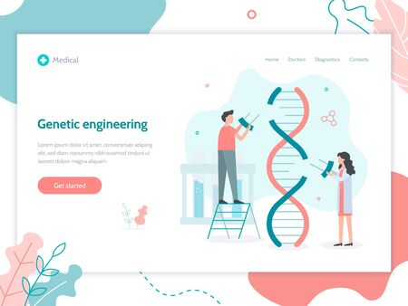 Genetic engineering. Scientists change parts of the DNA sequence. Web banner design template. Flat vector illustration. 向量圖像