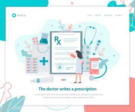 Female doctor writes a prescription. Concept for online medical service. Landing design template. Flat vector illustration.