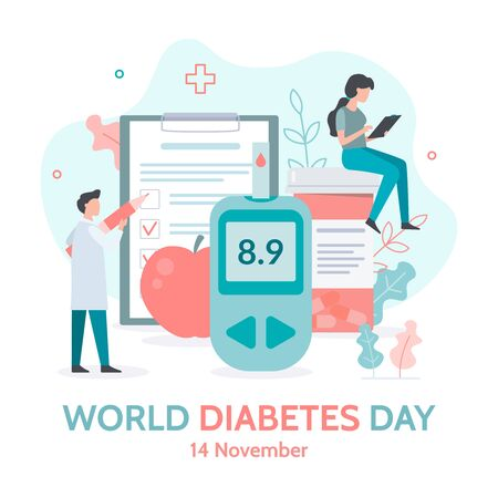 World diabetes day banner. Medicine diabetes concept. Flat vector illustration.