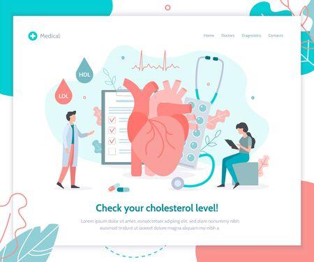 Zespół lekarzy sprawdza poziom cholesterolu we krwi. Kreatywny szablon projektu strony docelowej. Koncepcja zdrowia serca medycyny. Ilustracja wektorowa płaski.