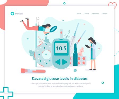 Elevated glucose level and therapy with injections of insulin. Creative landing page design template. Medicine diabetes concept. Flat vector illustration.