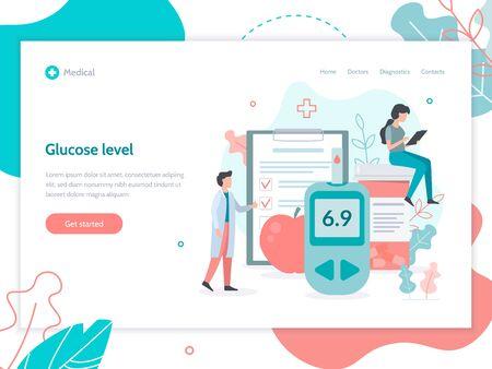 Glucose level control. Medicine diabetes concept. Web page design template. Flat vector illustration.