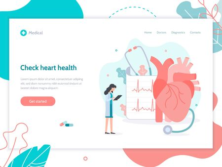 Check heart health. The doctor is doing an electrocardiogram. Web banner design template. Flat vector illustration.