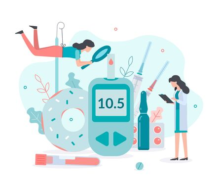 A team of specialists checks glucose levels, prescribes insulin therapy. Medicine diabetes concept. Flat vector illustration. Stok Fotoğraf - 137639736