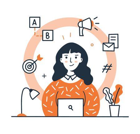 A marketing girl is sitting at a table in front of a laptop. Digital marketing concept. Modern profession. Line art design. Doodle style. Vector illustration. Illustration