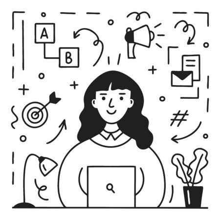 Professional female marketer at work. Digital marketing concept. Modern profession. Line art design. Doodle style. Vector illustration. Illustration
