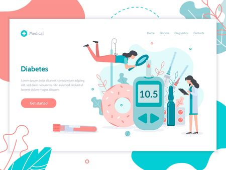 The glucose control, the rejection of sugar and therapy with injections of insulin. Web banner design template. Medicine diabetes concept. Flat vector illustration.