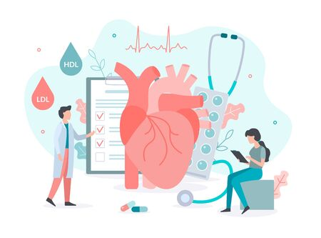 A team of doctors checks the level of cholesterol. Medicine health heart concept with tiny people. Flat vector illustration.