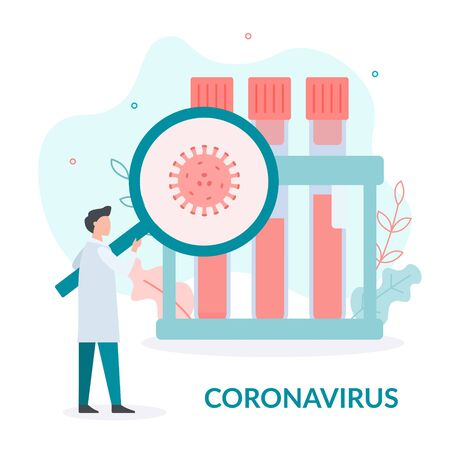 The doctor examines the blood for the presence of coronavirus. Flat vector illustration. Vecteurs