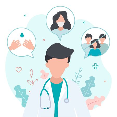Doctor's advice on how to protect yourself from the virus. Wash your hands, wear a mask, and avoid crowds. Flat vector illustration.