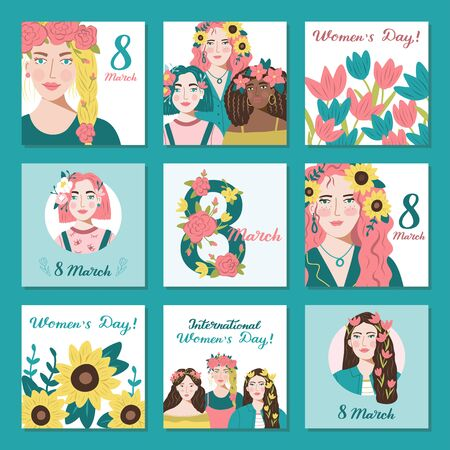 Happy International Women's Day 8 March. Set of nine vector templates for cards, posters, posts in social networks and other.