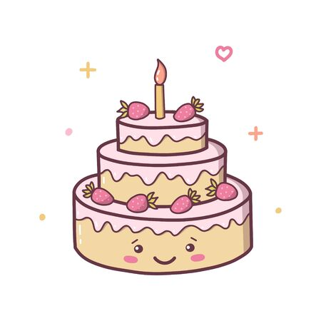 Happy birthday cake with strawberries. Kawaii cartoon character isolated on a white background. Vector illustration.