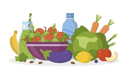 Alkaline diet concept. Alkaline food on the table. Flat design. Vector illustration Vektorové ilustrace