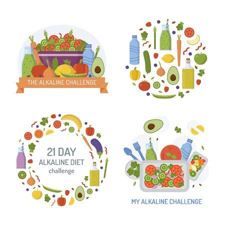 Set of emblems for alkaline challenge.