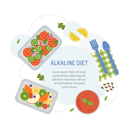 Alkaline diet. Meal planning menu for the day. The food in the containers with text area. Flat design. Vector illustration. Vektorové ilustrace