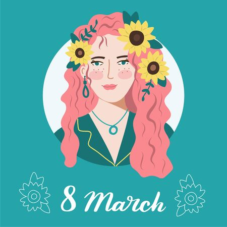 International Women's Day concept. Beautiful red curly girl with sunflowers in her hair. 8 March card. Design for banners, posts, flyers. Vector illustration.
