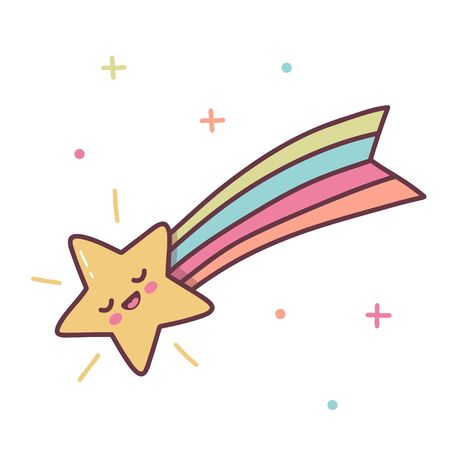 Cute shooting star with a rainbow tail. Kawaii cartoon character isolated on a white background. Vector illustration.