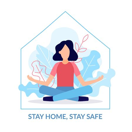 A young girl is sitting in the Lotus position at home. Stay home, stay safe. Quarantine to coronovirus. Self-isolation. Social distancing. Flat vector cincept. Ilustración de vector