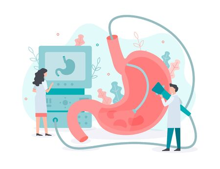 Performing a gastroscopy procedure. Diagnostics of gastric diseases. Stomach health. Medical concept with tiny people. Flat vector illustration.