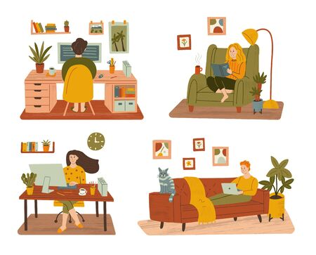 People spend time at home, work and relax. Stay home and remote work concepts. Set of hand drawn illustrations with texture.