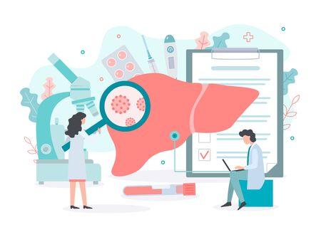 Treatment of hepatitis. Doctors conduct medical tests of the liver. Medical concept with tiny people. Flat vector illustration.