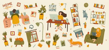 People at home in quarantine. Big set stay home and remote work concepts. Hand drawn illustration with texture. Иллюстрация
