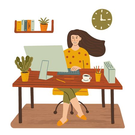 The women is sitting at a table with a computer at home. Remote work, freelance. Hand drawn illustration with texture.
