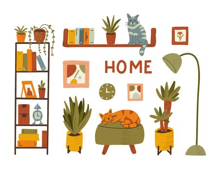Cozy interior, home furnishings, furniture. Plants and a cat. Stay home concept. Hand drawn illustration with texture.