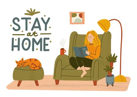 The girl is sitting in a chair with a book. A sleeping cat and a up of tea. Cozy homely interior. Stay at home concept. Hand drawn illustration with texture and hand lettering.