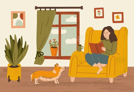 A girl in a chair by the window with a book and a hot drink. Dog and floor plant. Stay at home concept. Hand drawn illustration with texture.
