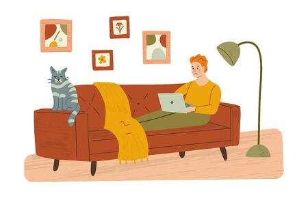 A man is sitting on a sofa with a laptop and a cat. Work from home, remote work, freelance. Hand drawn illustration with texture.  Иллюстрация