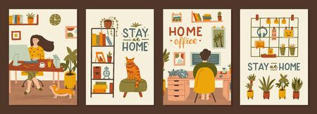Set of postcards stay at home. Work and rest at home. Remote work concepts. Hand drawn illustrations with texture and hand lettering.  Иллюстрация