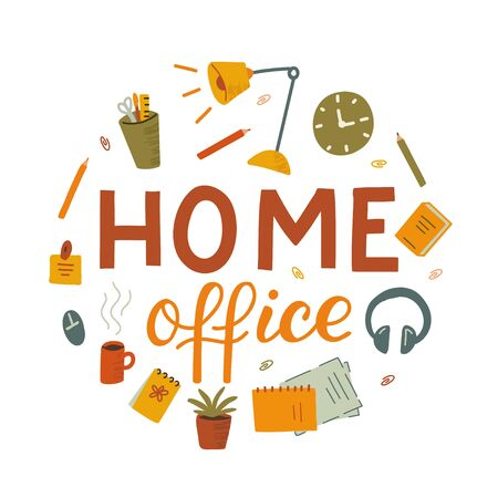 Home office around emblem. Remote work concept. Hand drawn illustration with texture.