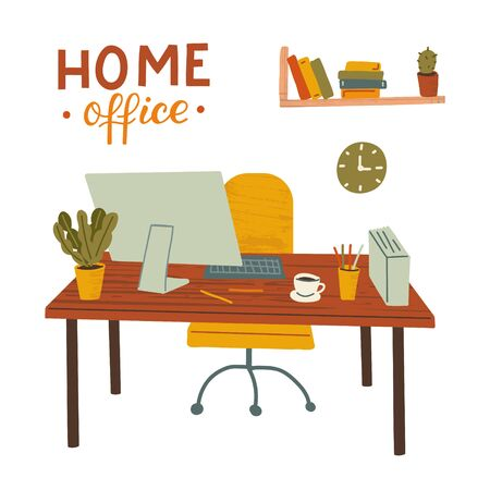 Home office. Work table at home. Remote work, freelance. Hand drawn illustration with texture and hand lettering.