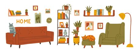 Furniture set. Cozy interior, plants and cats. Stay home concept.  Hand drawn illustration with texture.  Иллюстрация
