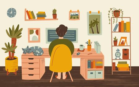 Young man freelancer working on computers at home. Cozy interior. Remote work concept. Hand drawn illustration with texture.