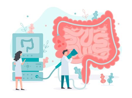 A team of doctors performs colonoscopy, diagnostics of the intestine. Bowel health. Medical concept with tiny people. Flat vector illustration.