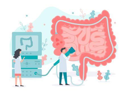 A team of doctors performs colonoscopy, diagnostics of the intestine. Bowel health. Medical concept with tiny people. Flat vector illustration. Иллюстрация