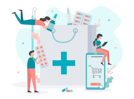 Order medicines online through the pharmacy app. Home delivery drugs. Small people collect the order. Medical concept. Flat vector illustration.