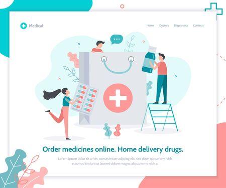 Order medicines online. Home delivery drugs. Medical flat vector illustration. Landing design template.