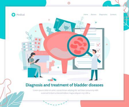 Diagnosis and treatment of bladder diseases. Creative landing page design template. Medical flat vector illustration. Vektorgrafik