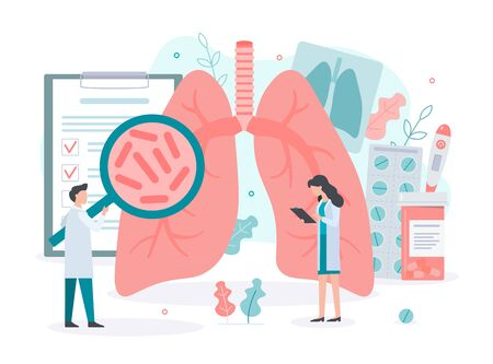 Diagnosis and treatment of lung diseases: tuberculosis, asthma, pneumonias. Lungs health. Medical concept with tiny people. Flat vector illustration.