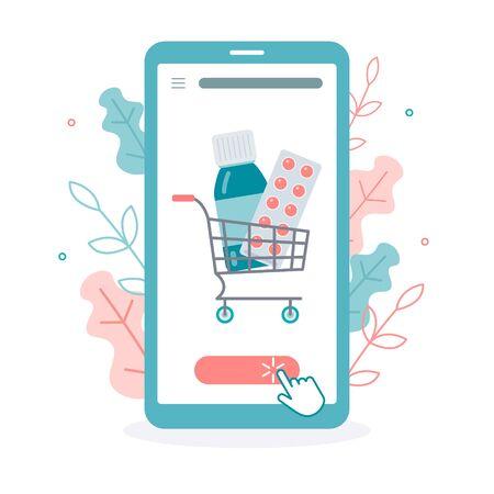 Order of medicines via the smartphone app.  Drug store. Medical concept. Flat vector illustration. Online pharmacy. Иллюстрация