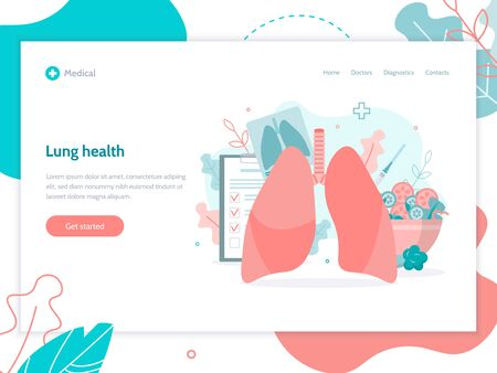 Prevention of lung diseases, proper nutrition, fluorography, vaccination. Modern web banner. Medical concept. Flat vector illustration.