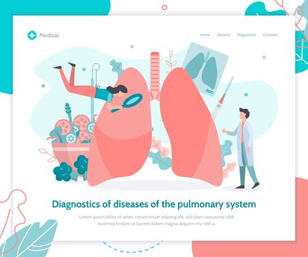 Lungs health. Prevention of lung diseases, proper nutrition, fluorography, vaccination. Landing design template. Medical flat vector illustration.