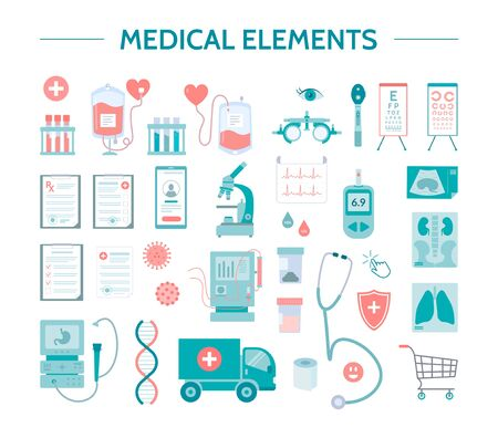 Medical icons set. Different healthcare symbols isolated on a white background. Good for clinic apps and web sites. Flat vector illustrations.