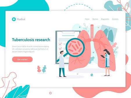 Diagnostics of diseases of the pulmonary system. Lungs health. Web banner design template. Medical flat vector illustration. Иллюстрация