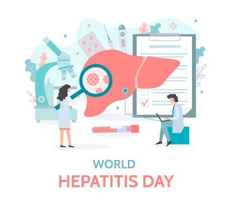 World Hepatitis Day. Diagnostics and treatment of the liver. Medical banner with tiny people. Flat vector illustration.