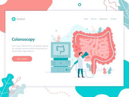 A doctor perform colonoscopy, diagnostics of the intestine. Landing design template. Medical flat vector illustration. Иллюстрация